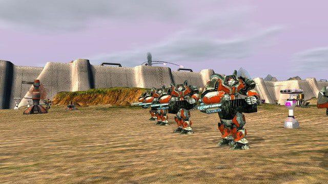 Zero-k cross-platform rts game robot armies fight each other.