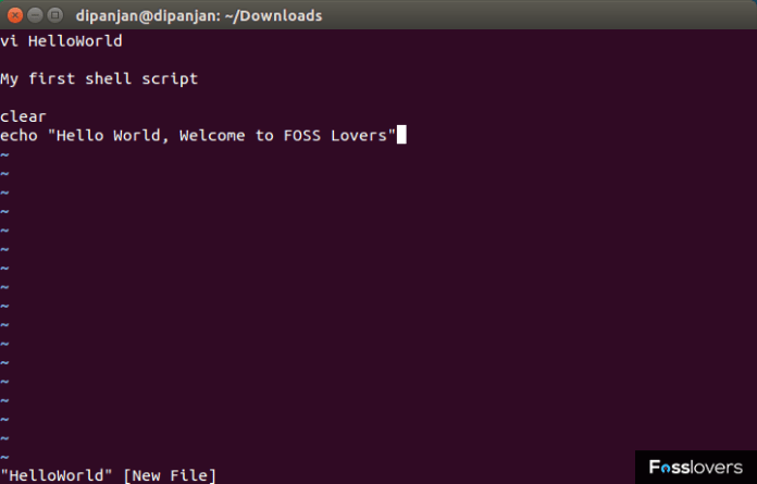 first shell script fosslovers