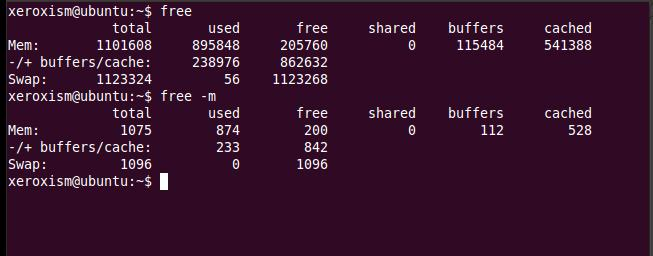 Linux free memory command