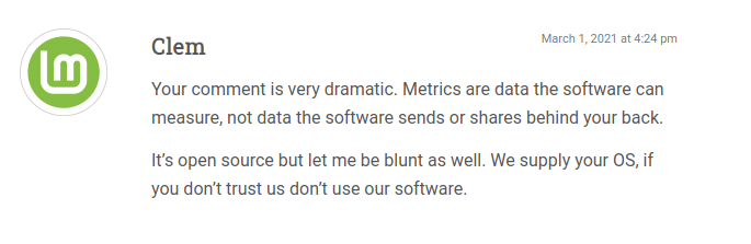 clem reply linux mint metrics