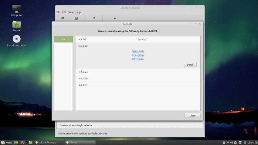 Update Manager in Linux Mint 18