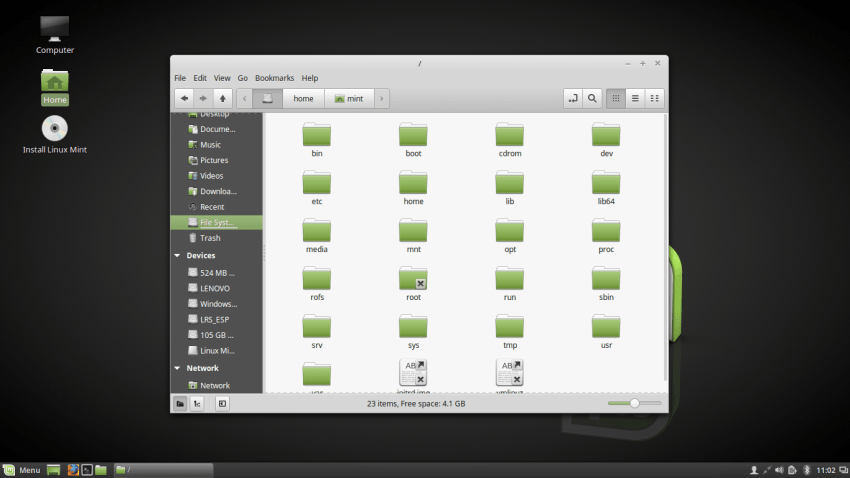 Nemo File Manager in Linux Mint 18