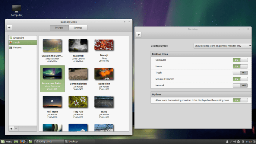 Desktop Options and Wallpapers in Linux Mint 18