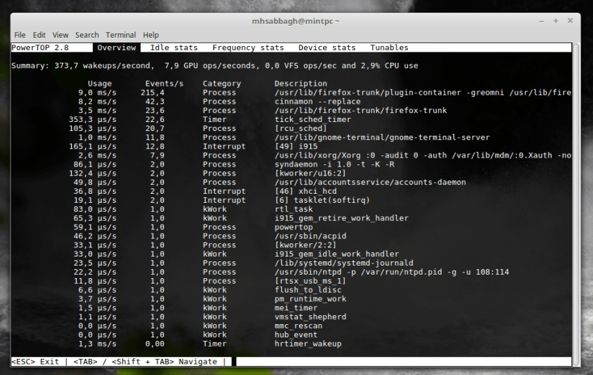 battery usage on Linux