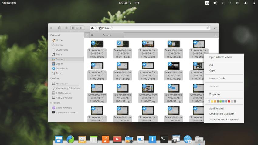 Elementary OS 0.4 Context Menu