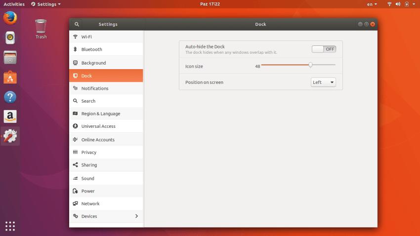 Ubuntu Dock Configuration in Ubuntu 17.10