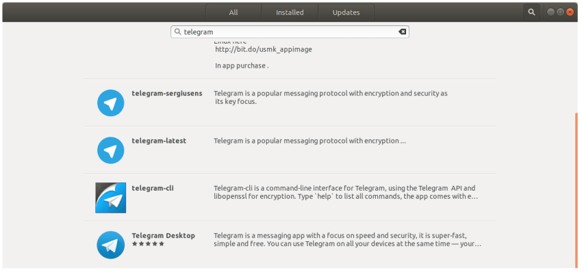 Telegram Snaps in Ubuntu 17.10