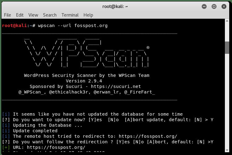 Running wpscan on fosspost.org using Kali Linux