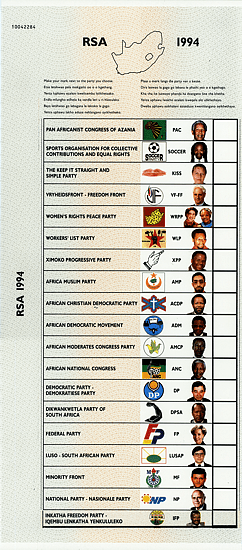 1994 National South African Election Ballot