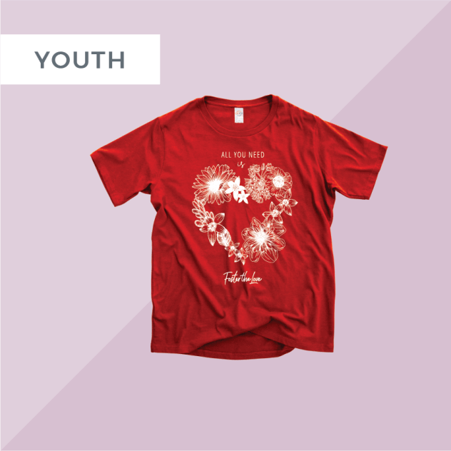 All You Need Is Love short sleeve t-shirt in red, benefitting Foster The Love Louisiana