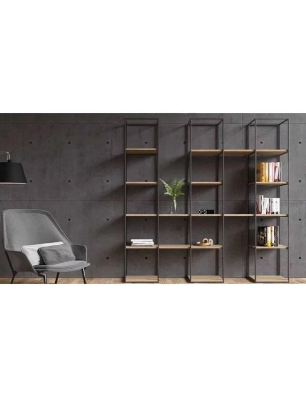 bibliotheque design en acier et chene massif tripple take me home