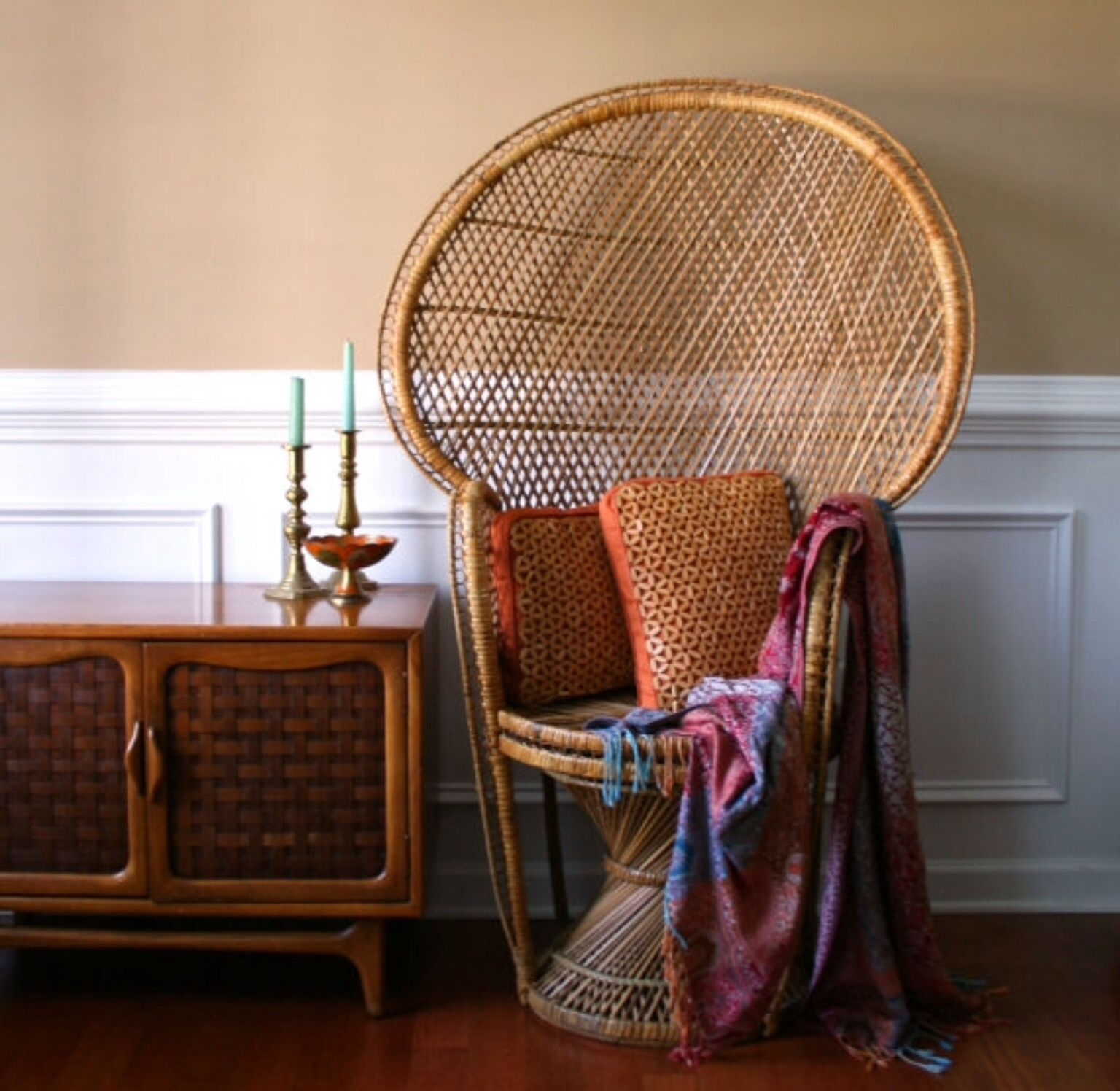 Rattan Wicker Arm Chair   Foter Chinoiserie peacock chair high fan back