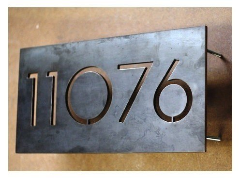 Metal House Number Signs   Foter Modern house numbers centered 5 numbers