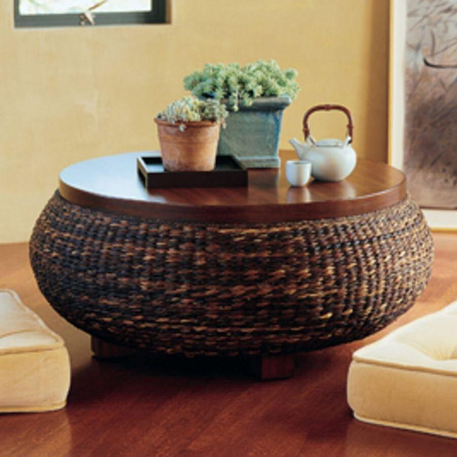 round wicker ottoman coffee table