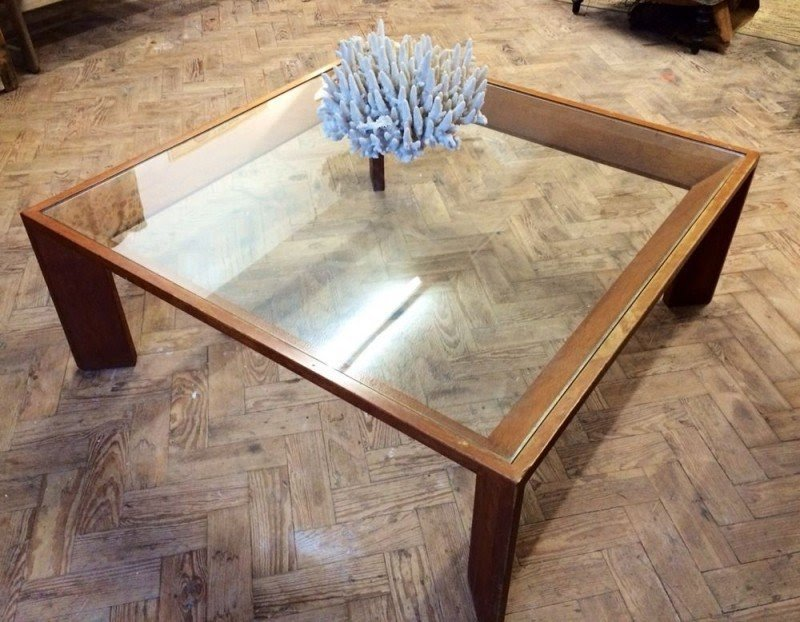 square wood and glass coffee table