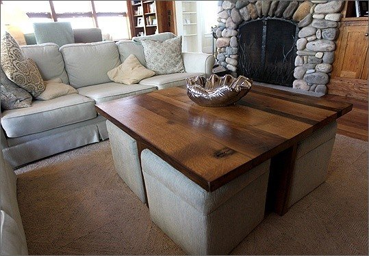coffee table with ottomans underneath