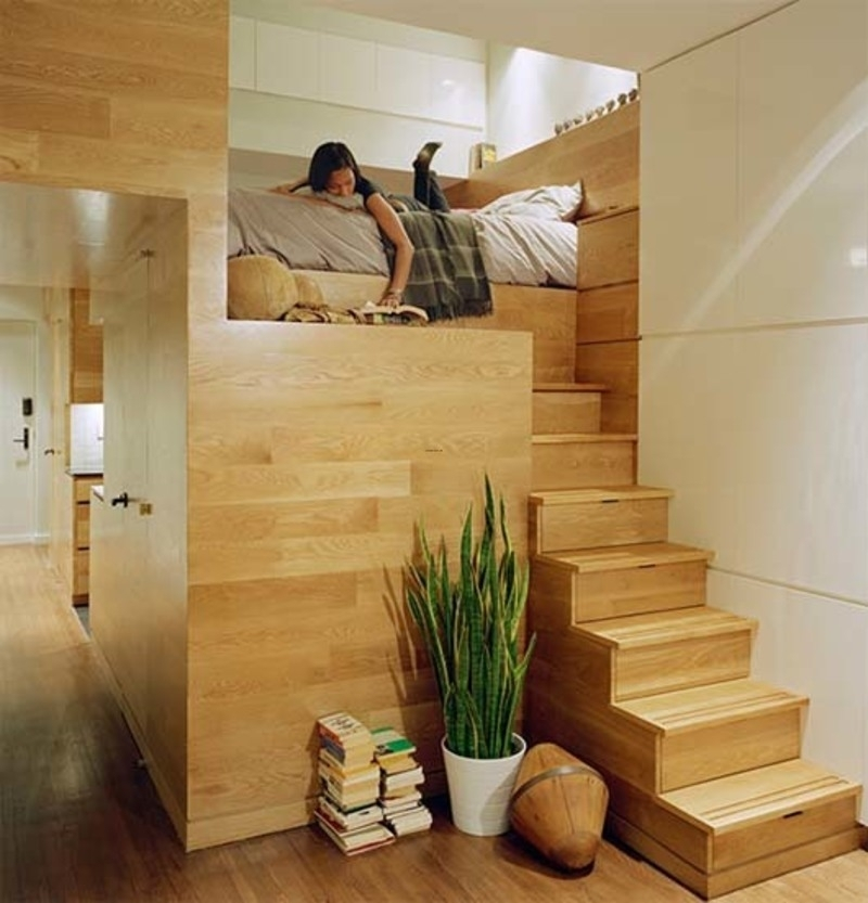 Staircase Loft Bed Ideas On Foter   Loft With Spiral Staircase   Small   Contemporary   Addition   Timber   New