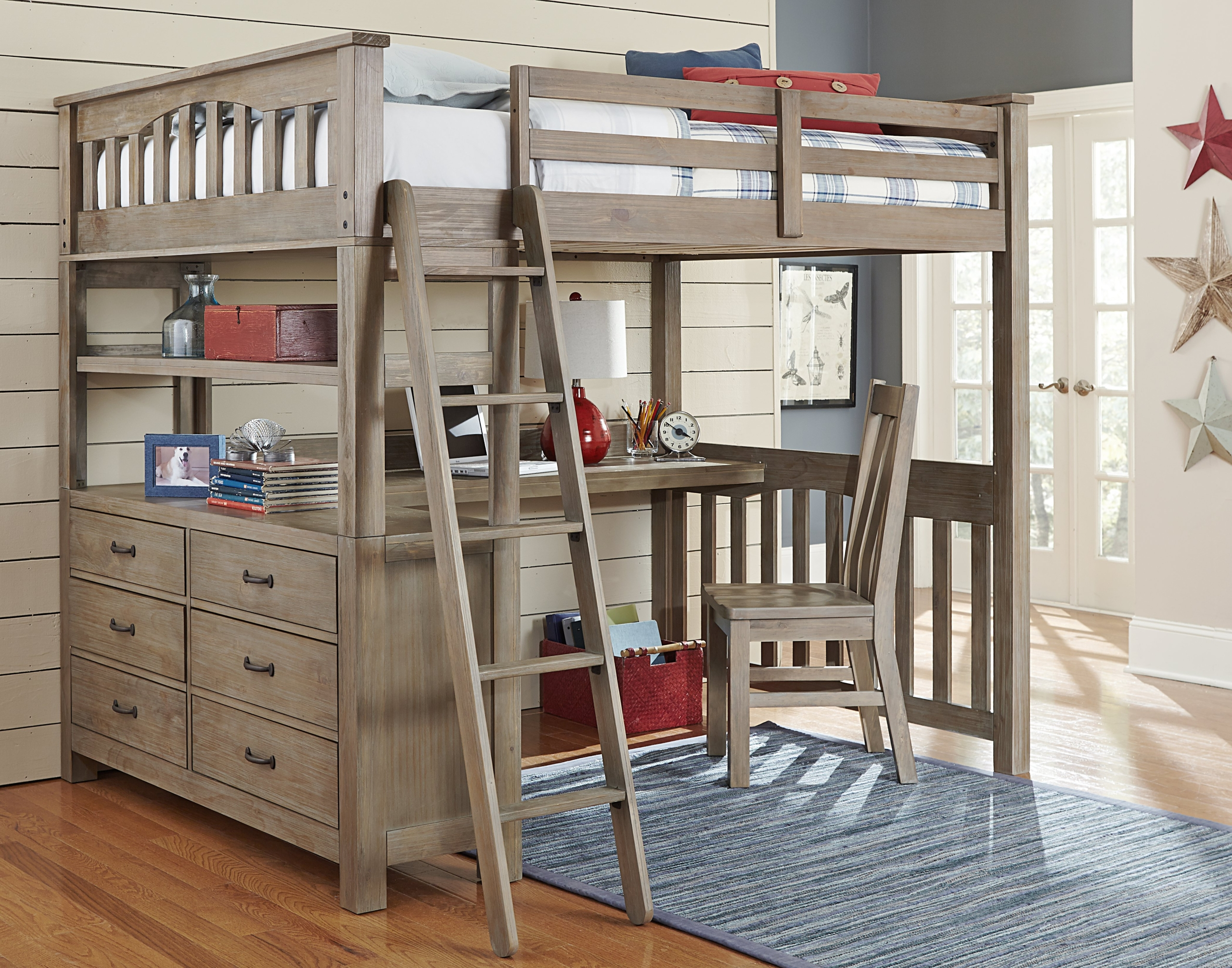 full size bunk bed with desk ideas on