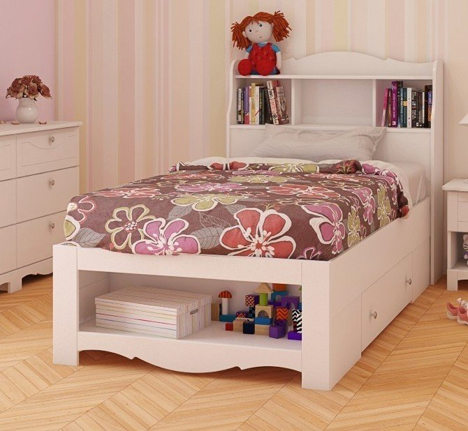 twin storage bed with bookcase