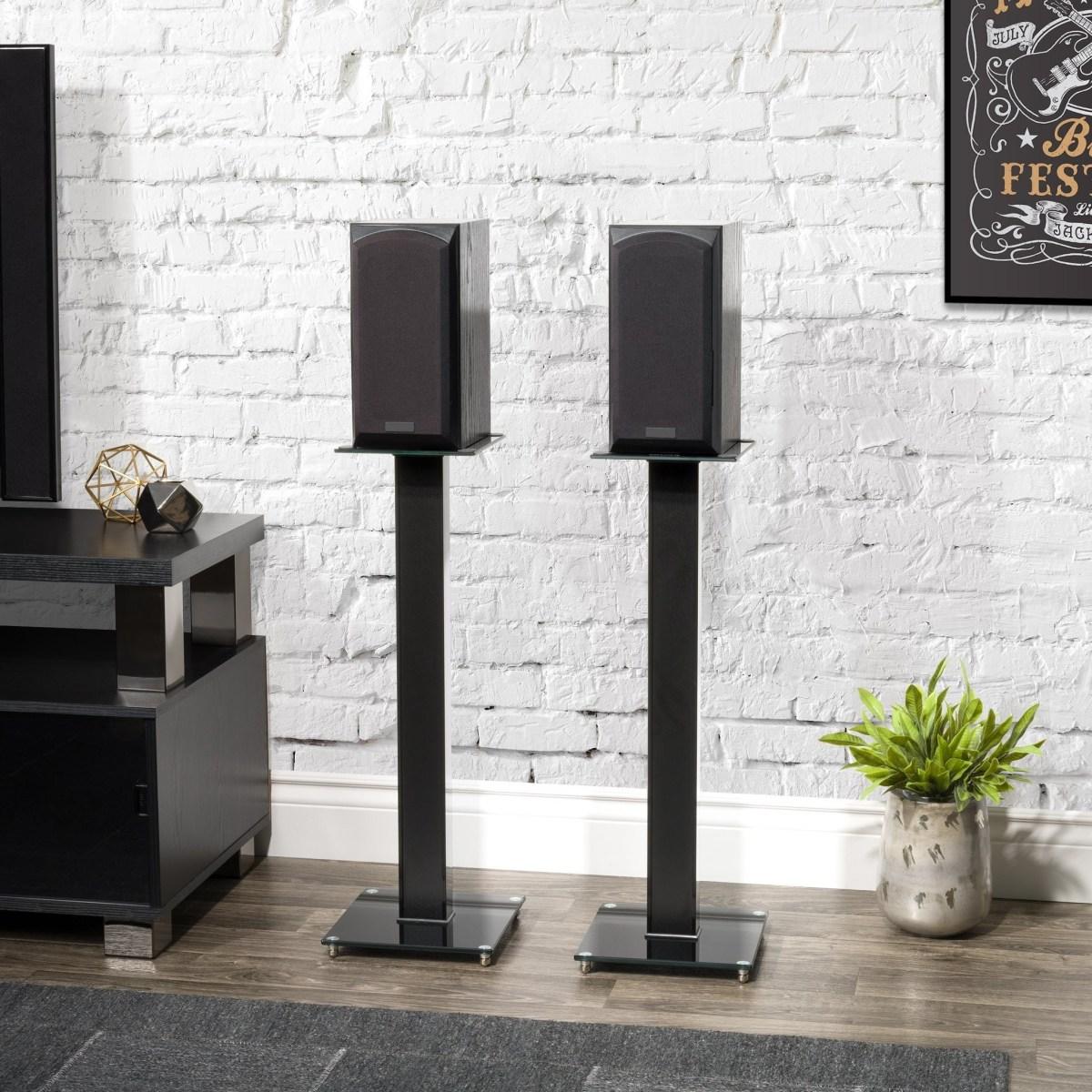 Engineered Wood Tempered Glass Steel Aluminium Fixed Height Speaker Stand