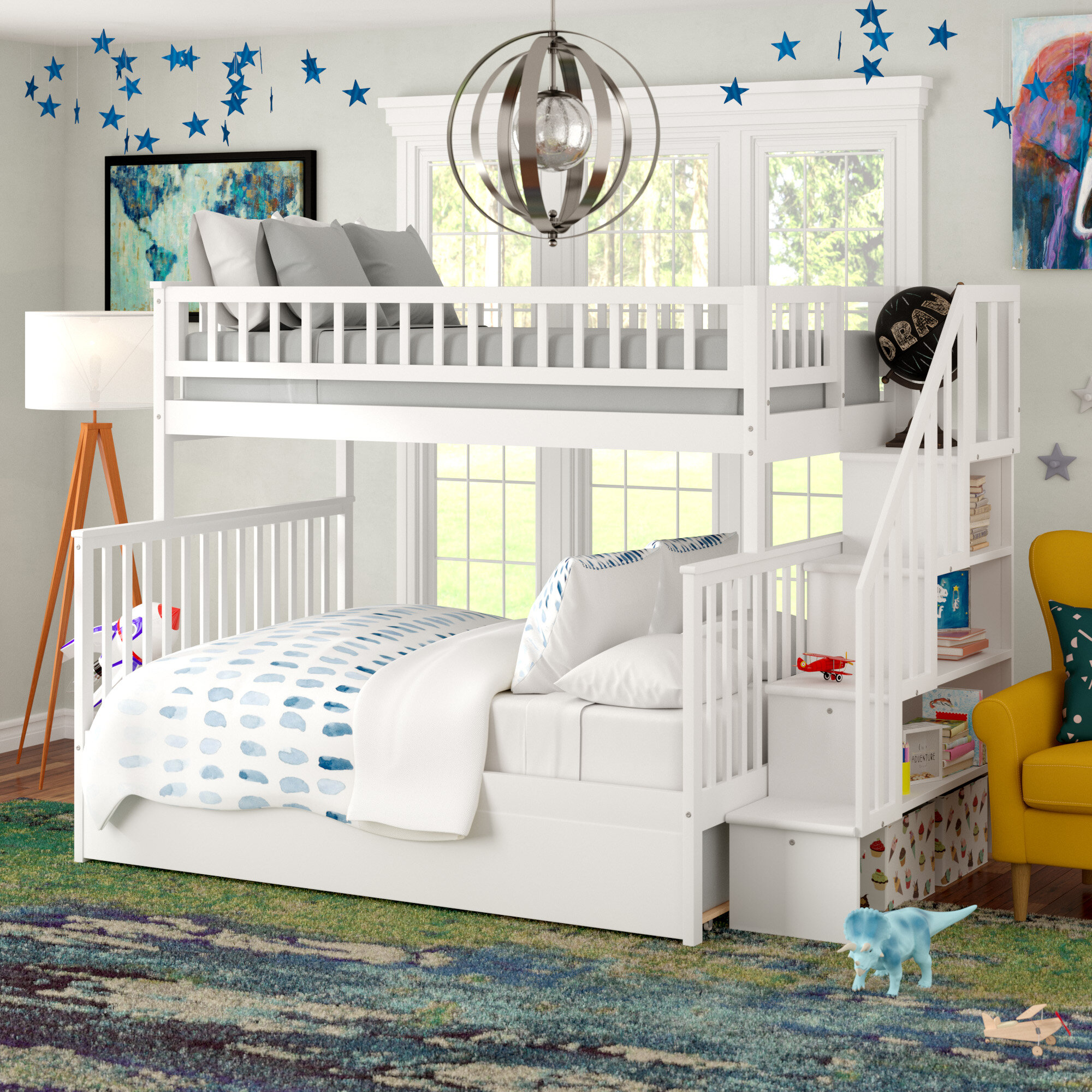 double bunk beds with stairs ideas on