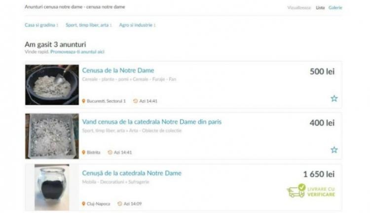 Elképesztő: a Notre-Dame hamvaival kereskednek a román hirdetőoldalakon