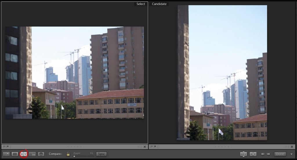 Lightroom Library panoul central Compare View