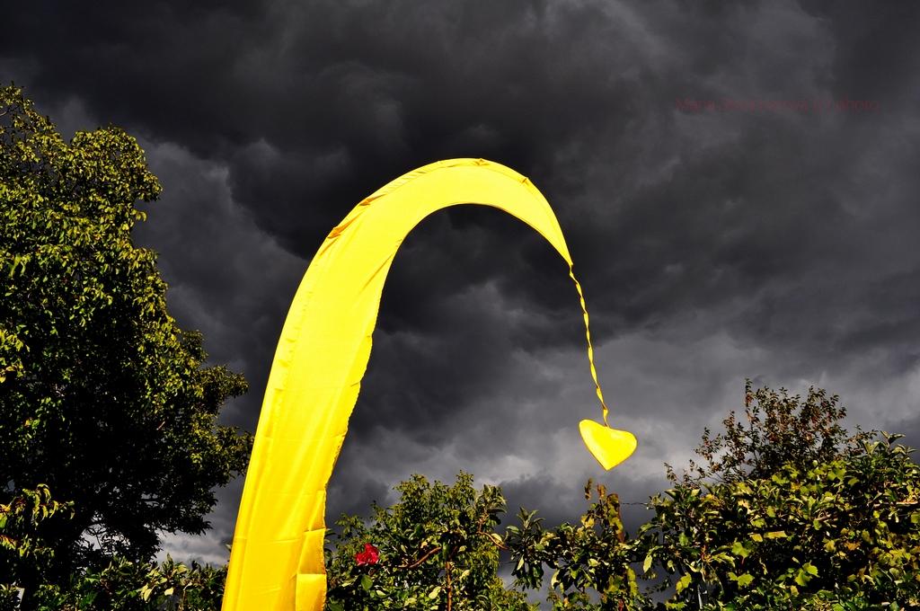 Záber žltej, slnkom osvetlenej, vlajky so srdiečkovým príveskom na pozadí so záhradnými stromami a tmavými čiernymi mrakmi.