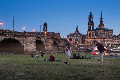 Foto: Sommerabend am Dresdner Elbufer