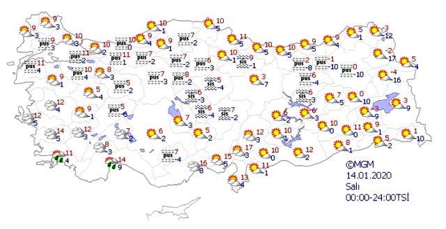 Meteoroloji Genel Müdürlüğü, yeni haftanın hava durumu raporunu yayımladı. Meteoroloji'nin hava tahmin raporuna göre yeni haftanın ilk gününde hafta sonundan kalma sıcaklıklar etkili olacak. İşte 13 - 17 Ocak 2020 haftasının hava durumu raporu.