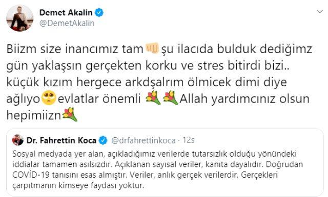 Demet Akalın, Fahrettin Koca'ya seslendi: Müjdeli haberi verin, çocuğum gece ağlıyor