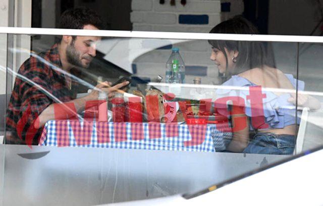 Oyuncu Cenan Adıgüzel'le ayrılan Bahar Şahin, rol arkadaşı Ozan Dolunay ile öpüşürken yakalandı