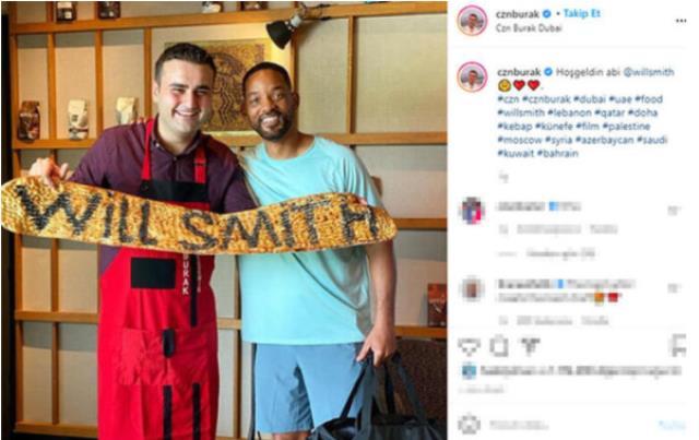 Ağırlamadığı dünya yıldızı kalmayan CZN Burak bu kez Will Smith'e pide yaptı