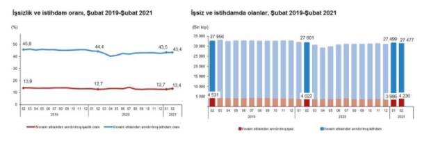 Son Dakika: Türkiye genelinde işsiz sayısı şubat ayında 250 bin kişi artarak 4 milyon 236 bin kişi oldu