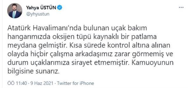 Atatürk Hava Limanı'nda patlayan oksijen tüpü korkuttu