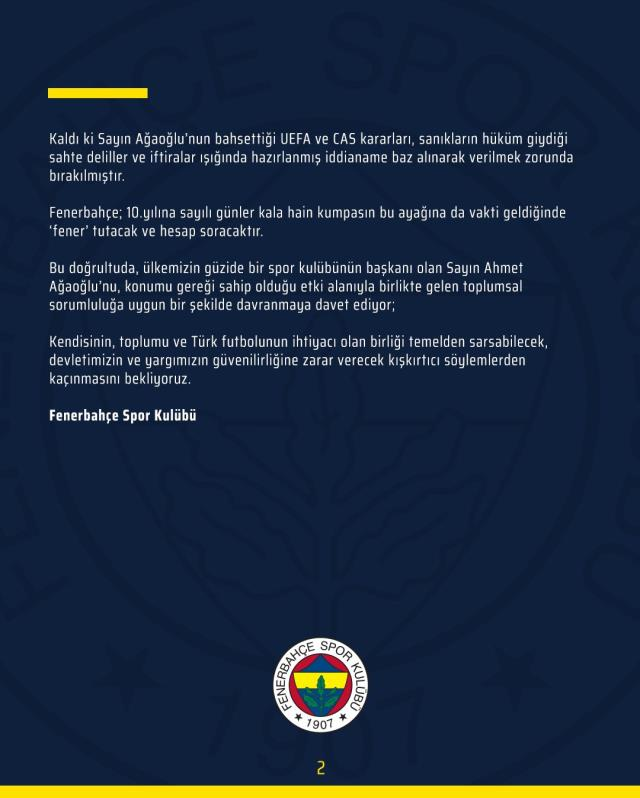 """Ahmet Ağaoğlu'nun, """"2010-11'de şike yapılmıştır"""" ifadesine F.Bahçe'den çok sert yanıt geldi"""