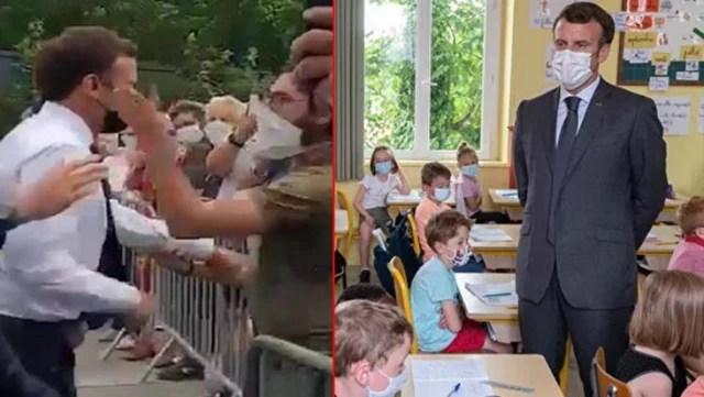 Geçtiğimiz günlerde saldırıya uğrayan Macron'a bir şok da minik öğrenciden geldi: Tokat nasıldı?