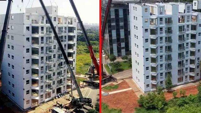 Çinli bir şirket, 28 saatte 10 katlı koca binayı böyle inşa etti