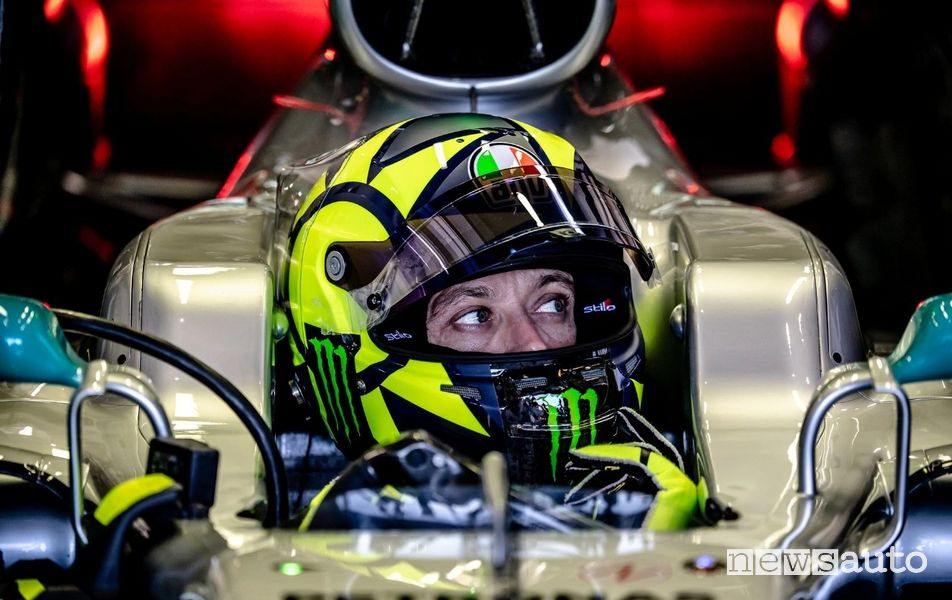 Valentino Rossi in the cockpit of the Mercedes AMG F1