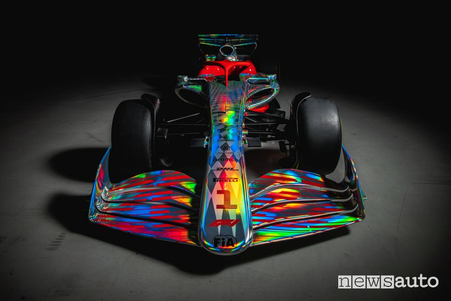 Front view of the new F1 2022 single-seater