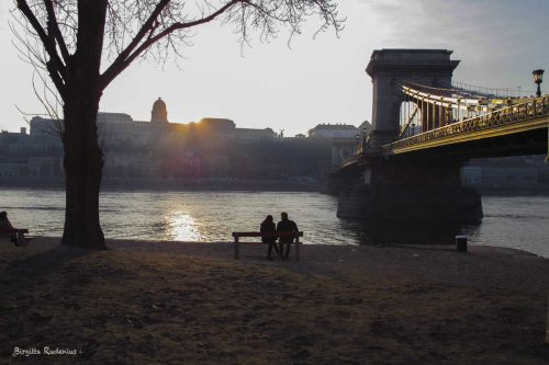 Sunset by the Danube in Budapest.