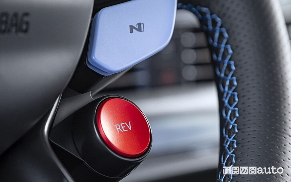 Rev Matching button on the steering wheel of the Hyundai i20 N