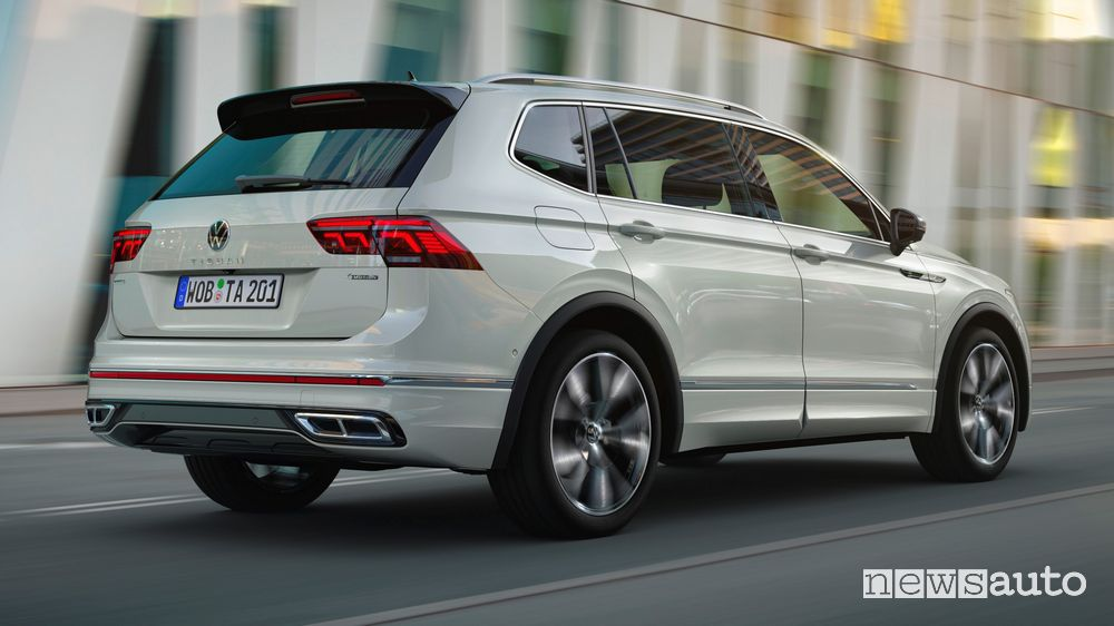 Volkswagen Tiguan Allspace rear view on the road