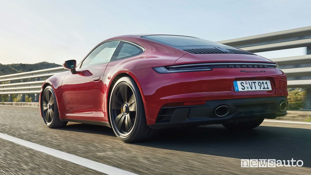 Rear view of the new Porsche 911 Carrera GTS on the road