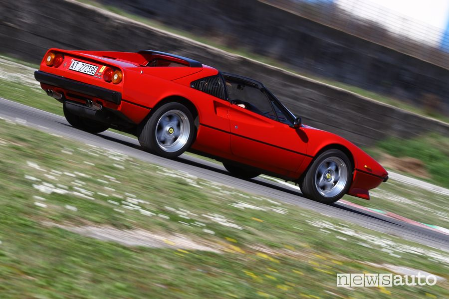Rear view of the Ferrari 308 GTS Magnum PI on the track at the Isam in Anagni