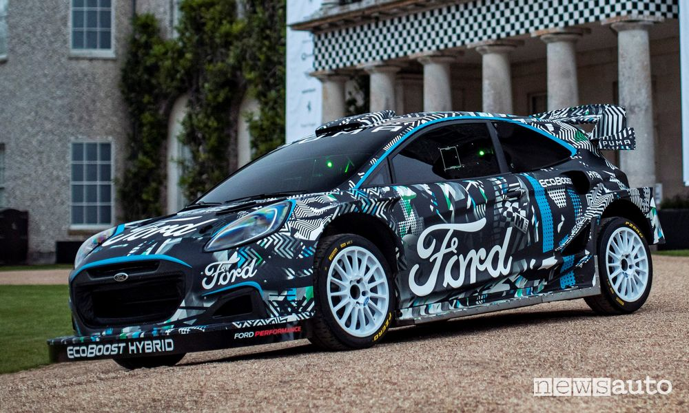 Ford Puma Rally1 WRC Prototype plug-in hybrid profile view
