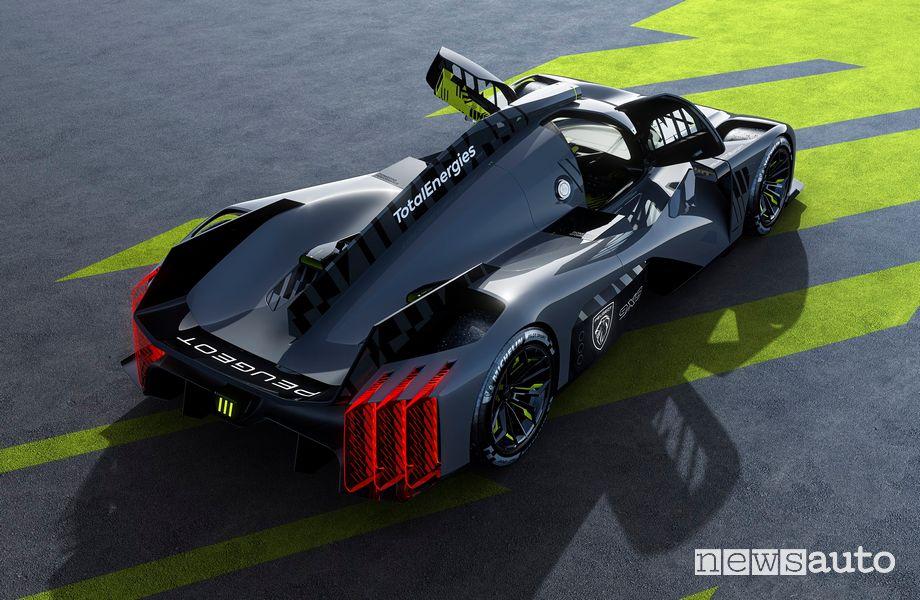 Peugeot 9X8 Hypercar Le Mans rear view