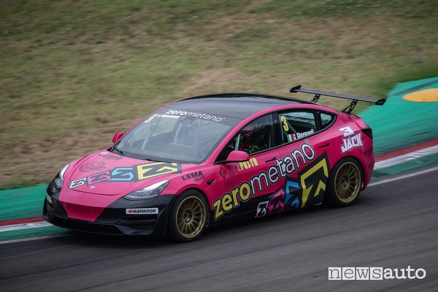 Tesla Model 3 racing E-STC Series on the track in Imola