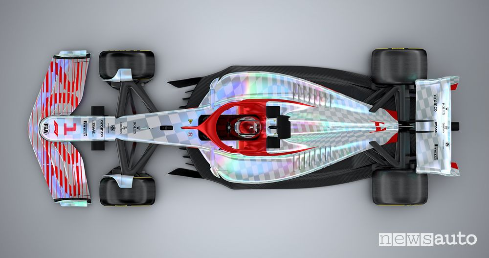 Top view of the new F1 2022 single-seater