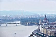 Danube River, with Parliament Building on the right side. Budapest, Hungary